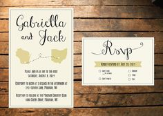 Calligraphy State Wedding Invitation by BLoeschCreative on Etsy
