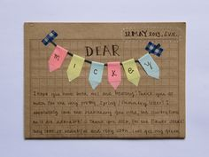 Personalized washi tape bunting - a nice way to start a letter. From Haring en Chocolade.