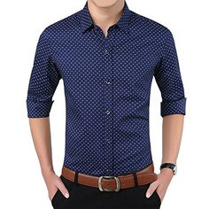 Men's Clothing - YTD Mens 100 Cotton Casual Slim Fit Long Sleeve Button Down Printed Dress Shirts >>> See this great product. (This is an Amazon affiliate link)
