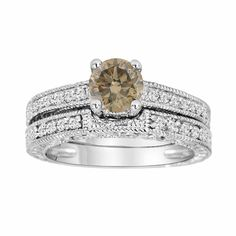 Fancy Cognac Brown Champagne Diamond Engagement Ring and Wedding Band Bridal Set