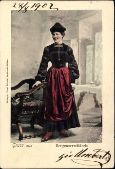 Postcard Bregenzerwälderin, Österreichische Landestracht, Frau German, Goth, Style, Fashion, Woman, Deutsch, Gothic, Swag, Moda
