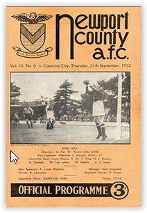 25 September 1952 v Newport County Drew Coventry City Fc, Newport County, 25 September, Football Program
