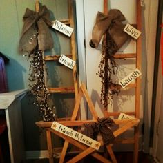Tobacco Stick Ladder and star with stenciled signs and Burlap bow