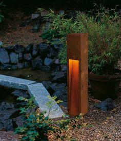 Rusty Slot Outdoor Bollard by SLV Lighting   229410U