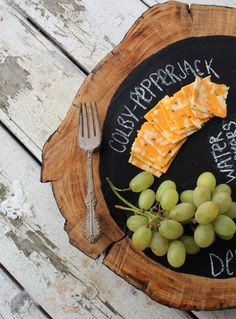 DIY Chalkboard Cheese Tray! perfect for parties...