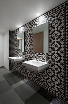 Restaurant and Bar Design Awards - Entry What a creative way to use our tiles, and an astonishing result! This was a part of a well deserved award wining interior design project of the Coach House Hatfield. Restaurant Bathroom, House Restaurant, Restaurant Design, Restaurant Ideas, Hatfield House, Bar Design Awards, Cocinas Kitchen, Restroom Design, Public Bathrooms