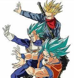 Super Sayin Trunks, Super Sayin God Vegeta, Super Sayin God Goku
