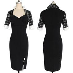 Black Polka Dot Sleeve Dress