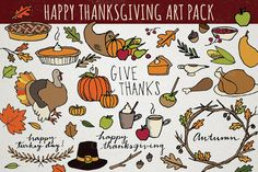 FREE UNTIL NOVEMBER 15! :: Thanksgiving Art Pack by Lemonade Pixel on Creative Market