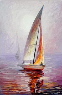 Sailboat Wall Art - Dream Yacht — Palette Knife Sailing Oil Painting On Canvas By Leonid Afremov. Size: X Inches cm x 90 cm) Segelboot Wandkunst Traumyacht-Spachtel Segeln Ölgemälde auf. Simple Oil Painting, Oil Painting On Canvas, Canvas Art, Knife Painting, Heart Canvas, Canvas Canvas, Sailboat Art, Sailboat Painting, Sailboats