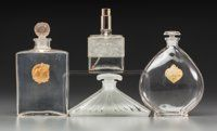 Four Various Clear Glass Perfume Bottles Circa 1920-1990. Brands including Houbigant, Arys and Molinard. Ht