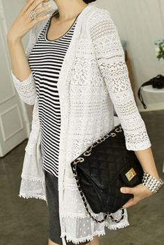 White Three Quarter Length Sleeve Lace Cardigan