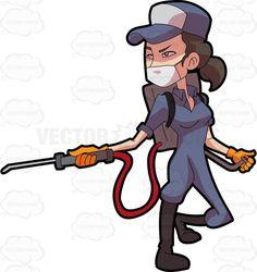 A female exterminator operating a pest control equipment Orange Gloves, Stock Art, Pest Control, Vector Graphics, Black Boots, Storytelling, Clip Art, Vector Illustrations, Cartoon