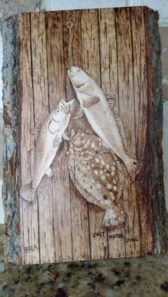 Texas inshore slam pyrography aka woodburning. By Brandy Mottesheard
