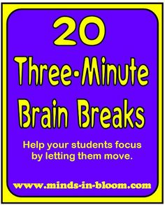 Brain breaks are an increasingly important aspect of daily classroom life. Here are 20 three-minute brain breaks to help you refocus your class! Classroom Behavior, School Classroom, Classroom Activities, School Fun, Classroom Management, Activities For Kids, Classroom Ideas, Movement Activities, Behavior Management