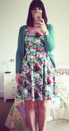 Becca's flamingo print Lilou dress