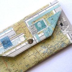 The wallet features a one of a kind handcrafted collage! Ive taken some of my favorite vintage atlas papers and sewn them up with clear vinyl to Map Crafts, Travel Crafts, Vintage Stamps, Vintage Paper, How To Make An Envelope, Map Globe, Best Christmas Gifts, Cartography, Recycled Crafts