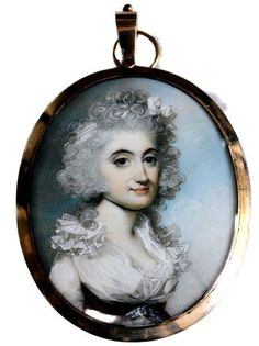 George Engleheart, circa 1780 A fine portrait of a young Lady with powdered wig