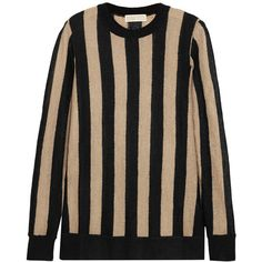 MICHAEL Michael Kors Striped knitted sweater (2.030 ARS) ❤ liked on Polyvore featuring tops, sweaters, michael kors, neutrals, striped top, side slit sweater, michael michael kors, layered tops and relaxed fit tops