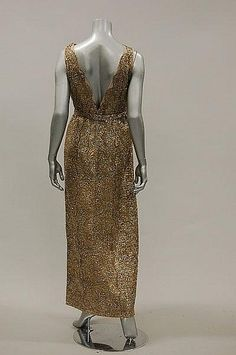 Pierre Balmain couture evening gown 1960s, beaded opalescent gold lace dress with matching belt, labelled and numbered 130.601.