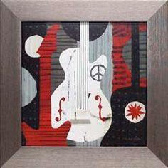 Rock n Roll Guitars music guitars peace symbol red black white modern interior decor kids room teenagers room art