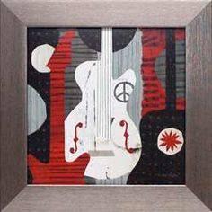 Rock n Roll Guitars music guitars peace symbol red black white modern interior decor kids room teenagers room art