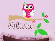 Childrens Decor Owl Vinyl Wall Lettering   by LucyLews on Etsy, $34.00