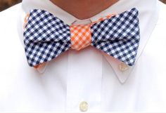 Two tone gingham bow tie...great with college colors