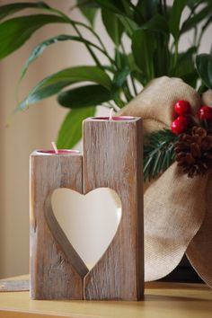 Wooden Candle holder, Heart candle holder, vintage wooden tea candle holder, Rustic candle holder, gift for mother, Christmas gift Wooden Candle holder Heart candle holder by WoodMetamorphosisUK
