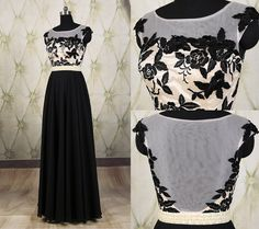 Beautiful black sheer back embroidery floral long prom dresses, see through pearl waist prom dress, evening dress, bridesmaid dress DP264
