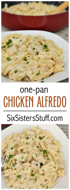 One-Pan Cheesy Chicken Alfredo on SixSistersStuff.com