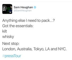 Sam is ready for the #Outlander Press Tour! He'll be in Sydney on March 21-22 and Tokyo on March 24!  - #1 Italian Fan Source for Everything #Outlander. Follow our FB page: www.facebook.com/OutlanderItaly