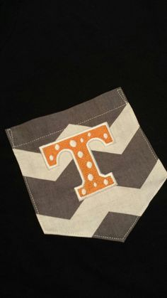 Tennessee Monogram Grey Chevron pocket DIY for your by SewChicky, $11.00