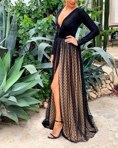 Shop Spaghetti Strap Sequin Surplice Wrap Dress right now, get great deals at cbrstyle Black Maxi Evening Dress, Maxi Dress With Sleeves, Evening Dresses, Lace Sleeves, Mesh Long Sleeve, Long Sleeve Maxi, Mini Robes, Trend Fashion, Mesh Dress