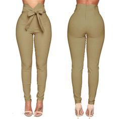 Trousers Women High Waist Casual Pants Fashion Ladies Bowknot Long Slim Skinny Pant Bandage Elastic Pencil Trousers With Sashes – My Brand Trousers Women, Pants For Women, Clothes For Women, Black Pants, Fashion Pants, Fashion Outfits, Womens Fashion, Harajuku Fashion, High Fashion