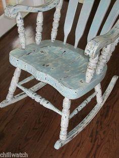 Shabby Seashore Beachy Chic Weathered Rocking Chair Annie Sloan Chalk Paint | eBay