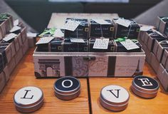 Chalkboard tin travel candles by Mine Design