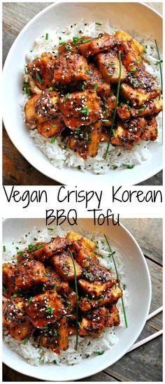 Vegan Crispy Korean BBQ Tofu Super crispy tofu tossed in the most delicious Korean inspired BBQ sauce. Can be totally gluten free! The post Vegan Crispy Korean BBQ Tofu & Fitness-Food & Recipes (gesund & vegan) appeared first on Vegan recipes . Vegan Dinner Recipes, Veggie Recipes, Asian Recipes, Whole Food Recipes, Korean Tofu Recipes, Vegan Tofu Recipes, Free Recipes, Super Food Recipes, Vegan Korean Food