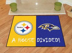 Pittsburgh Steelers - Baltimore Ravens NFL House Divided Mat