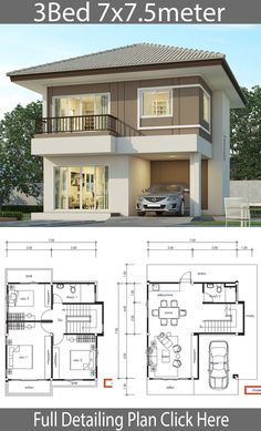 House design plan with 3 bedrooms – Home Design with Plansearch Haus Design Plan mit 3 Schlafzimmern – Home Design with Plansearch My Dream Home with layout plan Two Story House Design, 2 Storey House Design, Duplex House Plans, My House Plans, Simple House Design, Bungalow House Plans, Bungalow House Design, House Front Design, Modern House Design