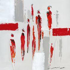 Magnifique tableau abstrait peint à la main rouge gris et blanc 27,6x26,7''                                                                                                                                                     Plus