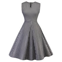 Vintage Striped Fit and Flare Dress - Black Stripe Xl