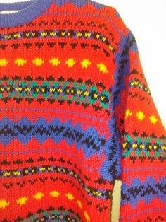 80's 90's Multi Color Pattern Sweater by by KindredLovesVintage, $21.00