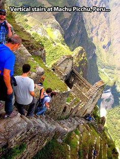Huayna Picchu is a mountain in Peru which rises about Machu Picchu, the so-called lost city of the Incas. A steep and, at times, exposed pathway leads to the summit which is 850 ft. higher than Machu Picchu. Machu Picchu, Huayna Picchu, Places To Travel, Places To See, Travel Destinations, Scary Places, Places Around The World, Around The Worlds, Scary Photos