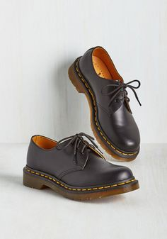 Pull Out All the Stomps Flat by Dr. Martens - Flat, Leather, Black, Solid, Casual, Vintage Inspired, 90s, Lace Up