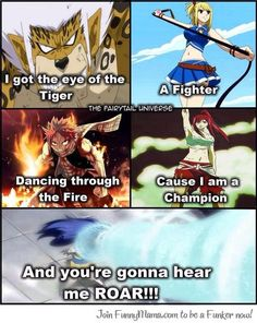 haha!!!!! YEEES    Anime/manga: Fairy Tail Characters: Elfman, Lucy, Natsu, Erza, and Wendy