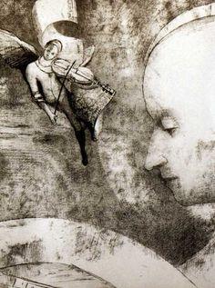 Odilon Redon (1840-1916)  -L'Art Céleste.  Lithograph, 1894. (via)