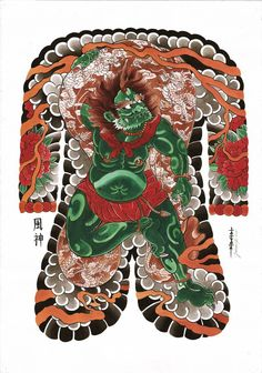 Fujin, God of wind, Japanese tattoos, Jarno Kantanen
