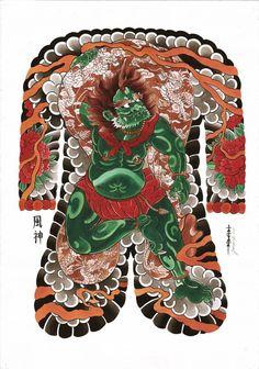Fujin, God of wind, Japanese tattoos, Jarno Kantanen