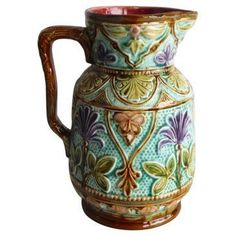 Check out this item at One Kings Lane! Majolica Purple Flowers Pitcher